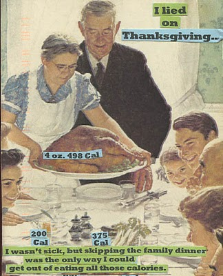 painting of traditional family at Thanksgiving, with text glued on top of it